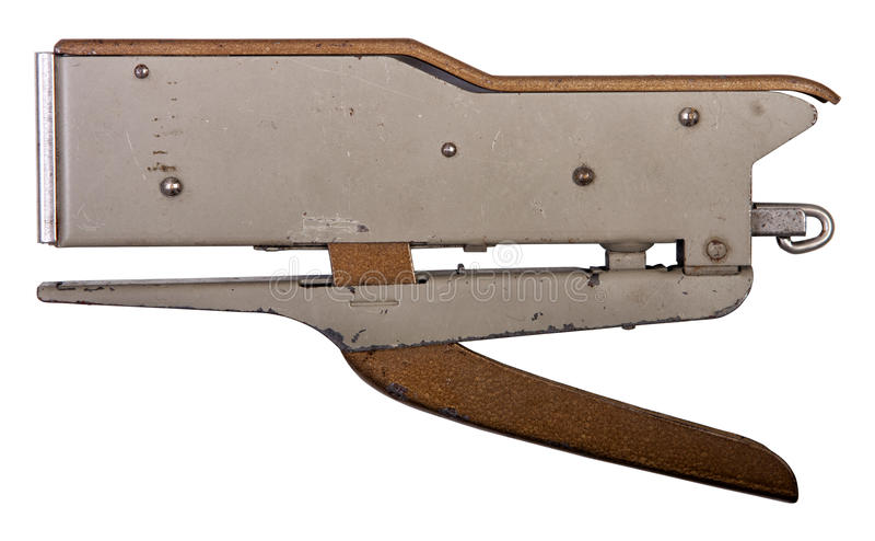 Oude nietmachine op geïsoleerd wit Beschikbaar PNG stock foto
