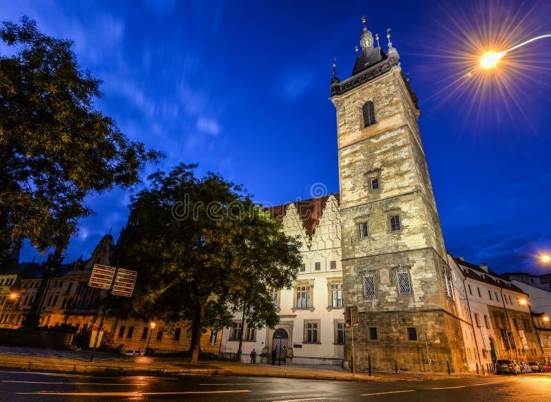 Oude Nieuwe Stad Hall Tower en nachtlichten, Praag, Tsjechische Republiek royalty-vrije stock afbeelding