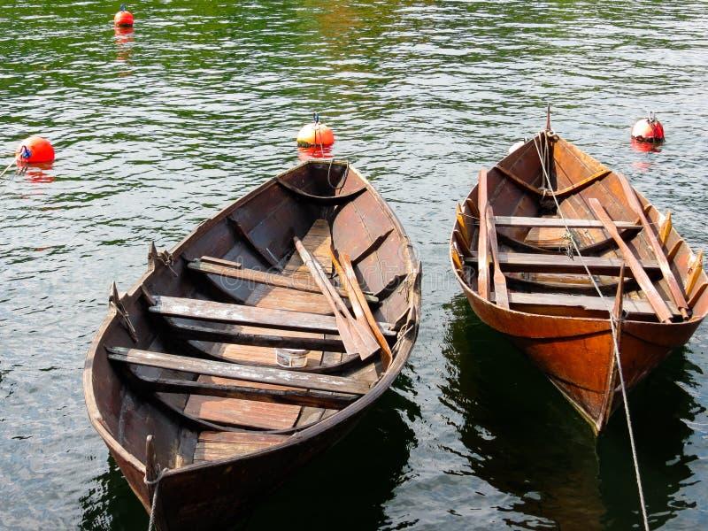 Oude Noorse boten stock foto