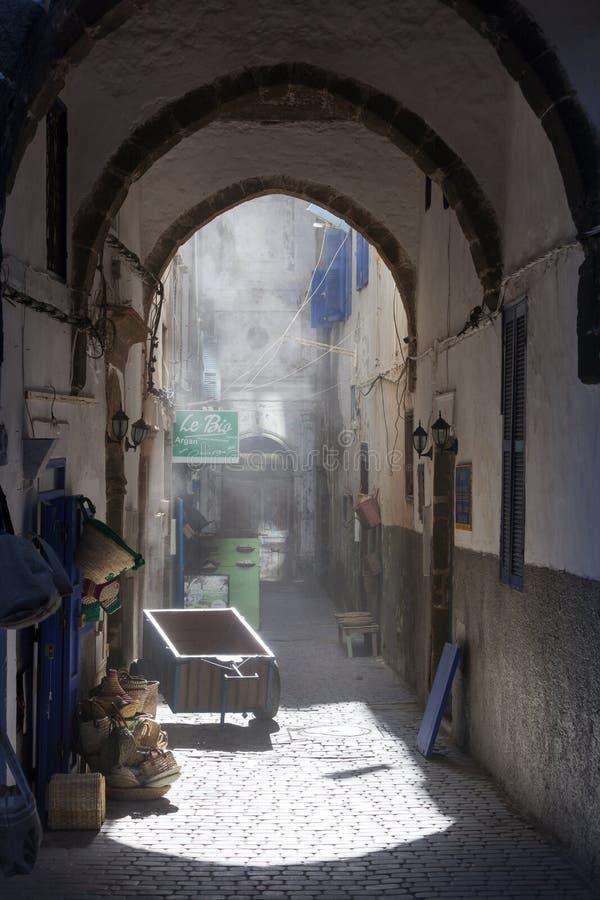 Oude nostalgiestraat in Esssaouira royalty-vrije stock fotografie