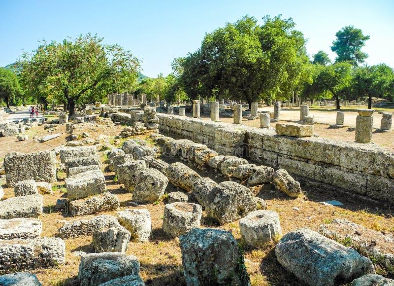 Oude Olympia, Griekenland stock afbeeldingen
