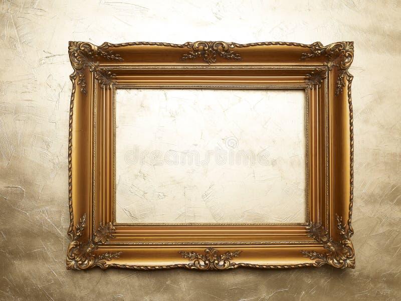 Oude Omlijsting op Gouden Muur stock afbeelding