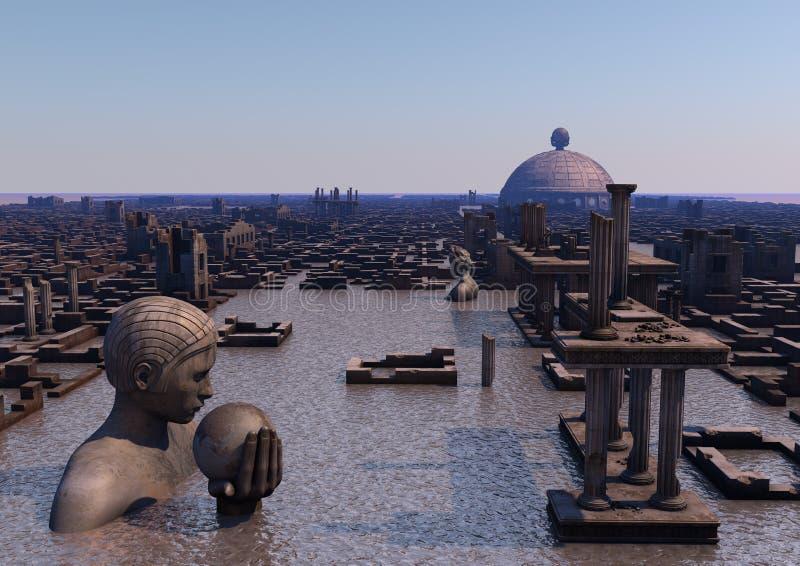 Oude ondergedompelde stad royalty-vrije illustratie