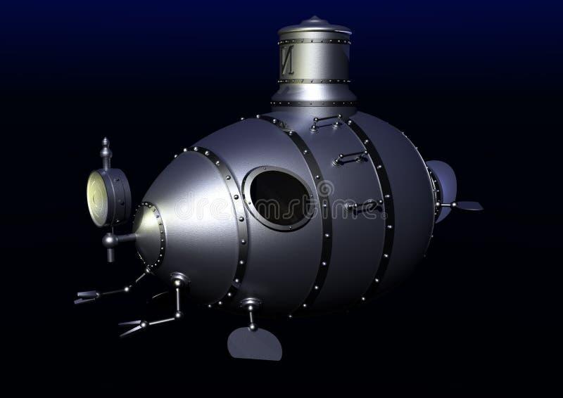 Oude onderzeese onderwater vector illustratie