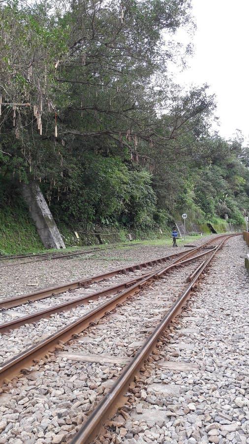 Oude ongebruikte spoorwegsporen stock afbeelding