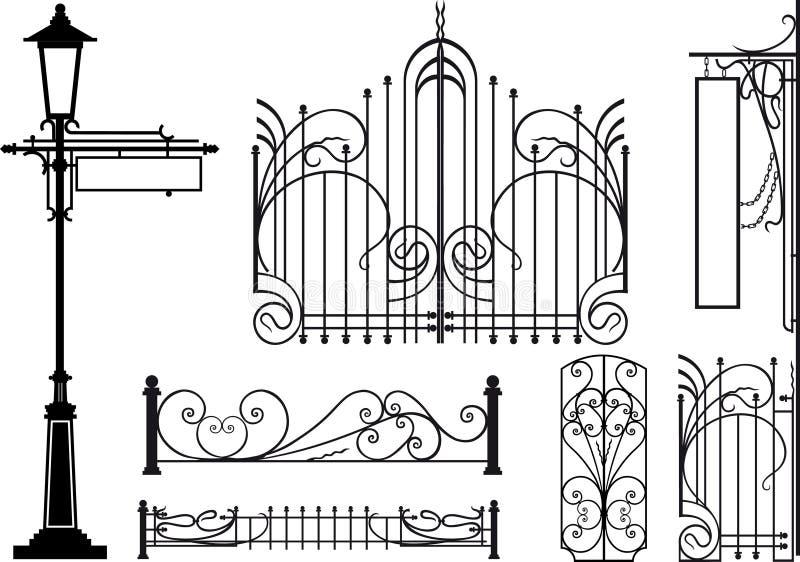Oude ontwerpelementen van stadsstraten vector illustratie