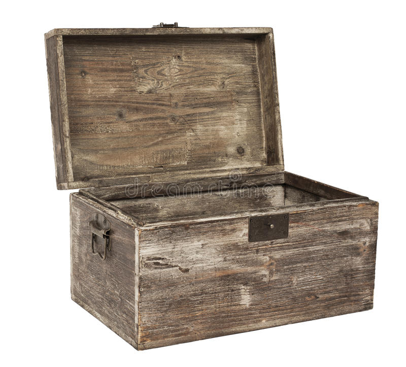 Oude open houten borst royalty-vrije stock foto