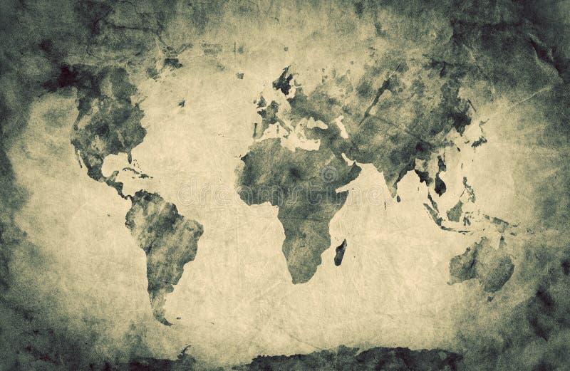 Oude, oude wereldkaart Potloodschets, grunge, wijnoogst vector illustratie