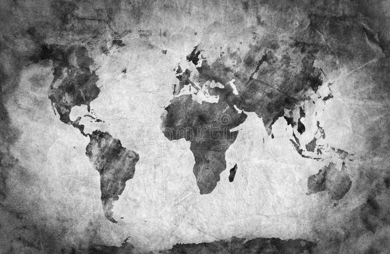 Oude, oude wereldkaart Potloodschets, uitstekende achtergrond royalty-vrije illustratie