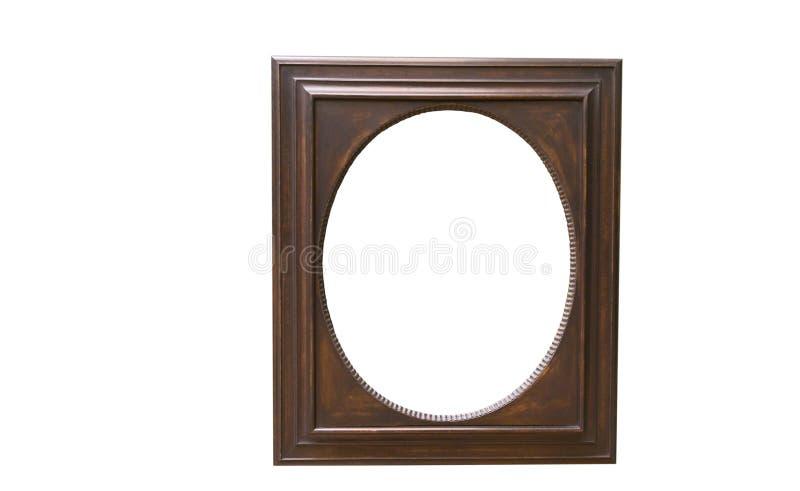 Oude ovale houten omlijsting royalty-vrije stock afbeelding