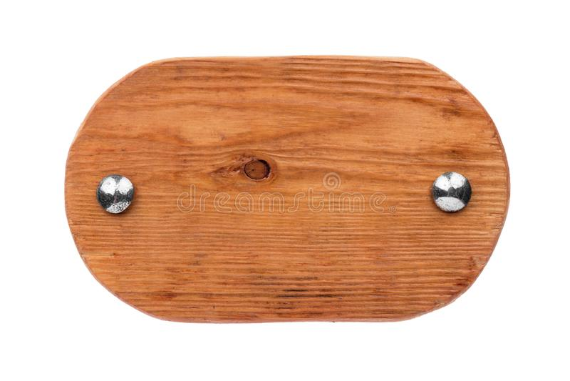 Oude ovale houten raad met chroombouten Geïsoleerde royalty-vrije stock fotografie
