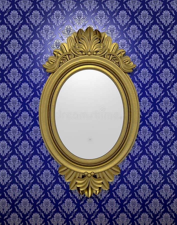 Oude ovale spiegel stock illustratie