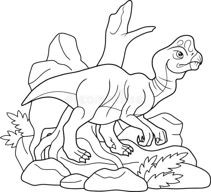 Oude Oviraptor wandelt op zoek naar voedsel vector illustratie
