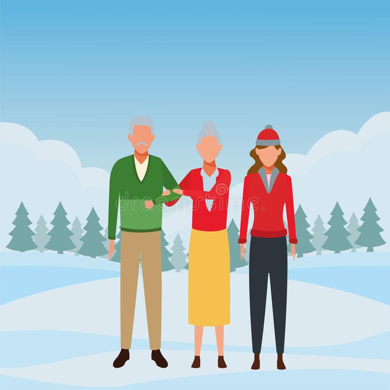 Oude paar en vrouw royalty-vrije illustratie