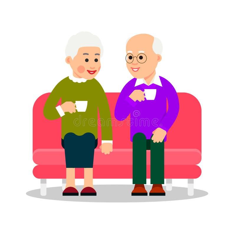 Oude paar het drinken koffie of thee De oudere mensen zitten op laag en drinken een hete drank van koppen Het bejaarde paar gliml stock illustratie