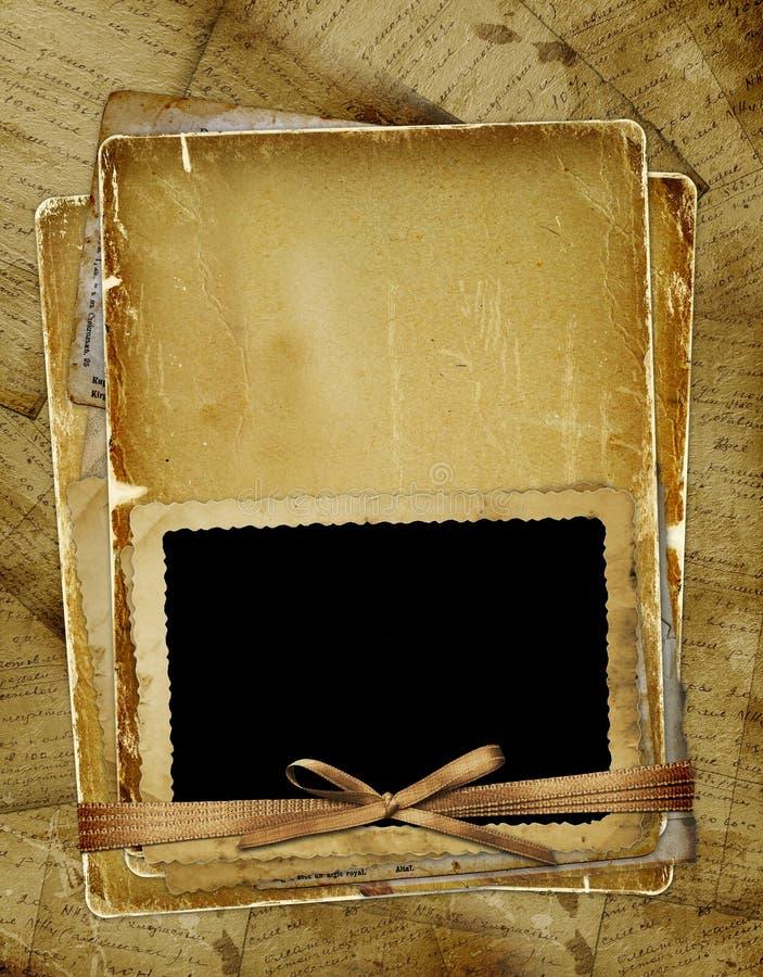 Oude pagina met frame voor foto. Linten en boog. vector illustratie