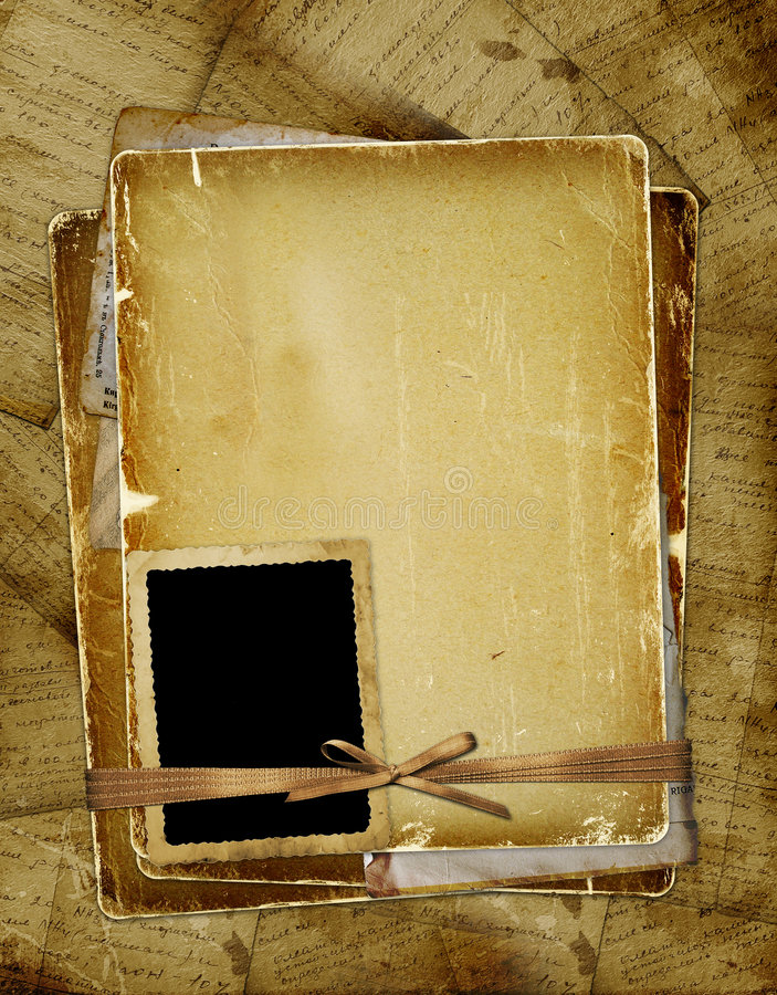 Oude pagina met frame voor foto. Linten en boog. stock illustratie