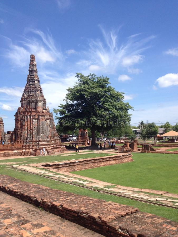 Oude pagode in Ayutthaya Thailand stock foto