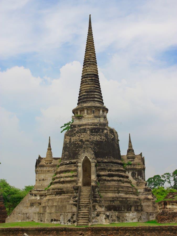 Oude pagode bij het Historische Park van Ayutthaya royalty-vrije stock afbeelding