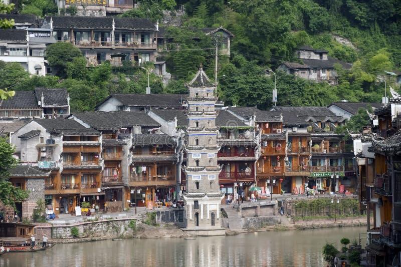 Oude Pagode in de oude stad van Fenghuang royalty-vrije stock foto's
