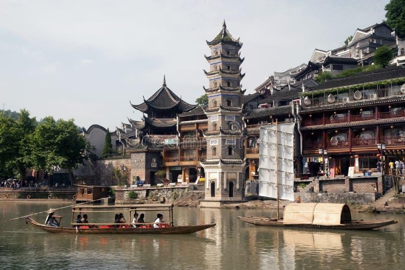Oude Pagode in de oude stad van Fenghuang stock fotografie