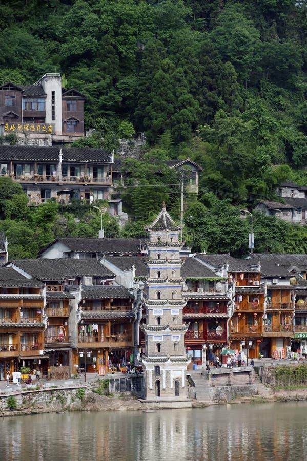 Oude Pagode in de oude stad van Fenghuang royalty-vrije stock afbeeldingen