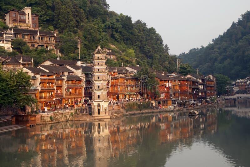 Oude Pagode in de oude stad van Fenghuang stock afbeelding
