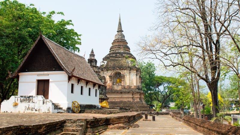 Oude Pagode in Wat Chet Yod, Zeven pagodetempel in Chiang Mai, Thailand Wat Chet Yod was plaats binnen van Achtste Wereld Boeddhi royalty-vrije stock afbeeldingen