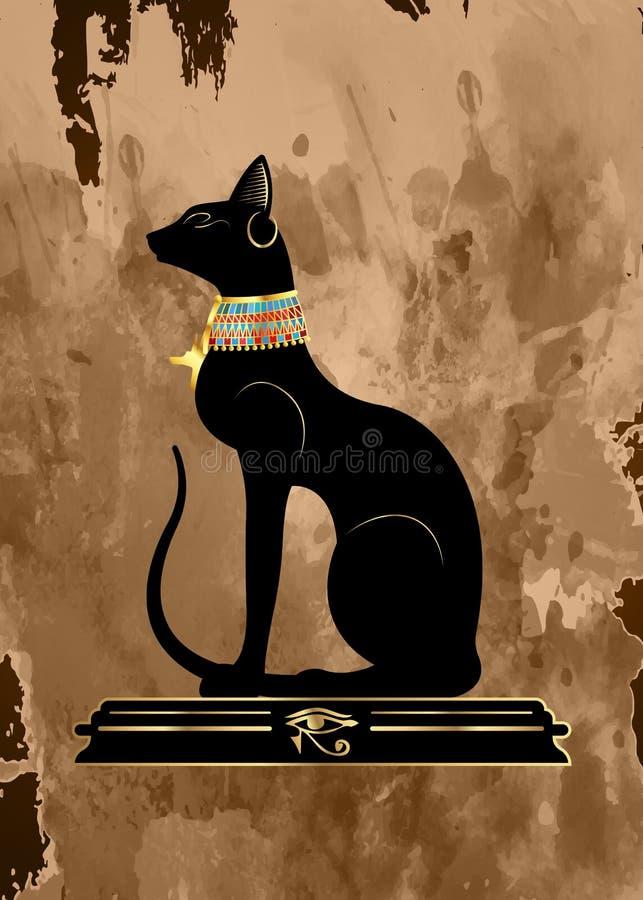 Oude papyrus met Zwarte Egyptische kat Bastet, de oude godin van Egypte, standbeeldprofiel met Pharaonic gouden juwelen, geïsolee royalty-vrije illustratie