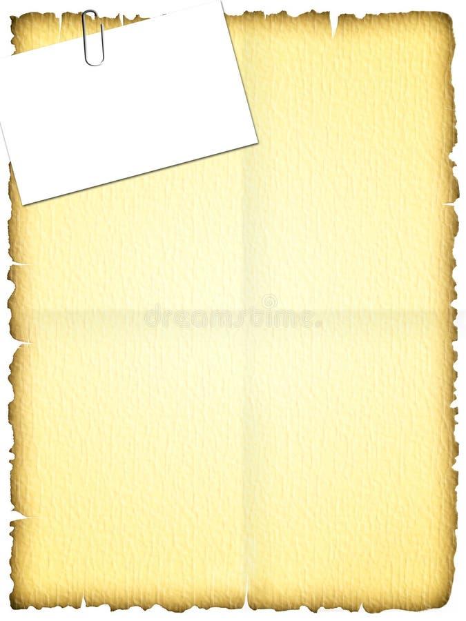 Oude papyruspagina met kenteken stock foto