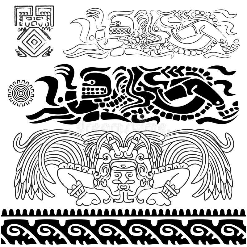 Oude patronen met mayan goden royalty-vrije illustratie