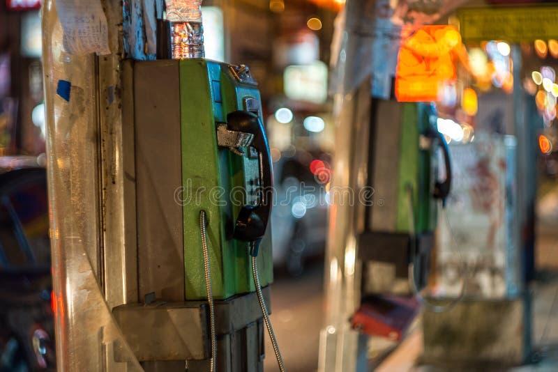 Oude Payphone in de Stad van China, Kuala Lumpur, Maleisië stock fotografie