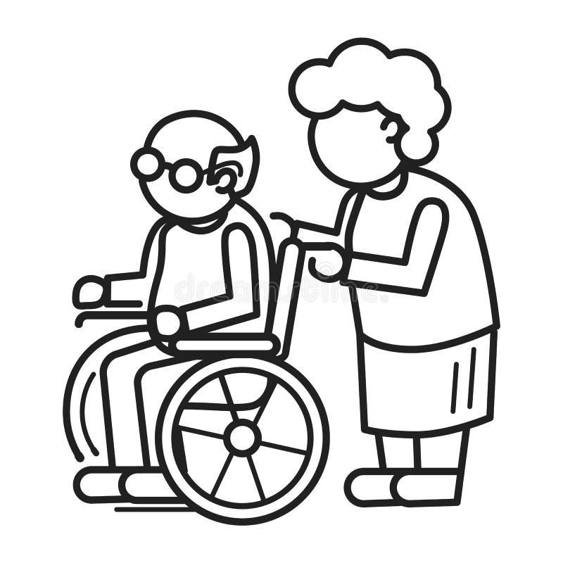 Oude persoon op het conceptenachtergrond van de wielstoel, overzichtsstijl royalty-vrije illustratie