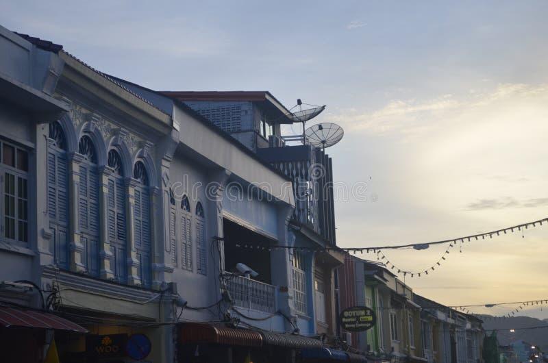 Oude Phuket-Stad op een Maandag stock foto