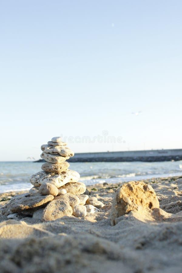 Oude pijler in de Zwarte Zee royalty-vrije stock foto