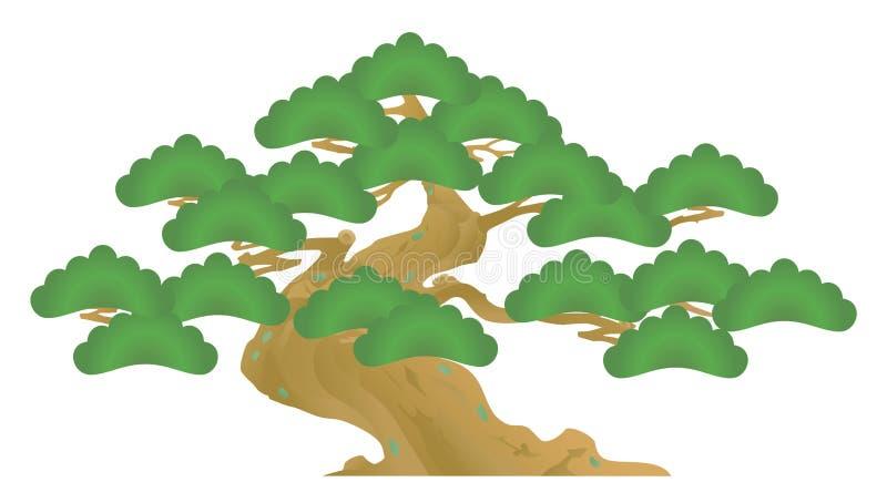 oude pijnboomboom Bonsai vector illustratie
