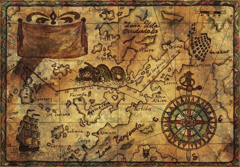 Oude piraatkaart met het effect van de stoffentextuur royalty-vrije stock foto