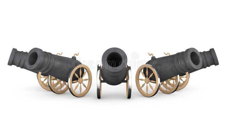 Oude piraatkanonnen vector illustratie