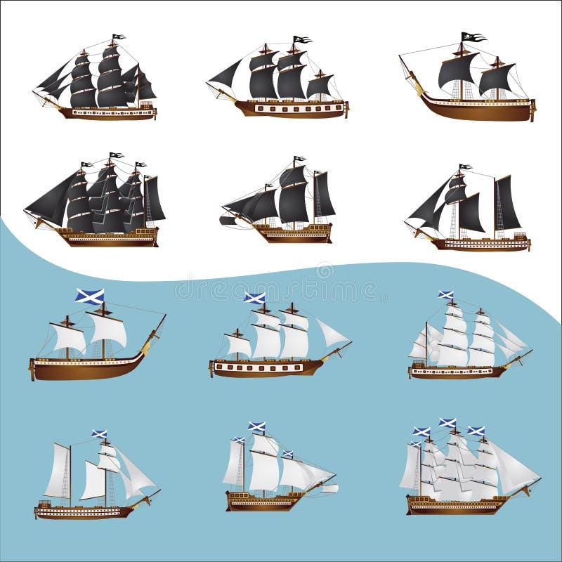 Oude piraatschepen stock illustratie