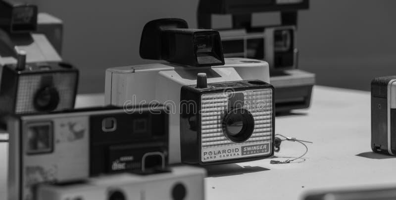 Oude Polaroid- Zwart-wit stock afbeelding