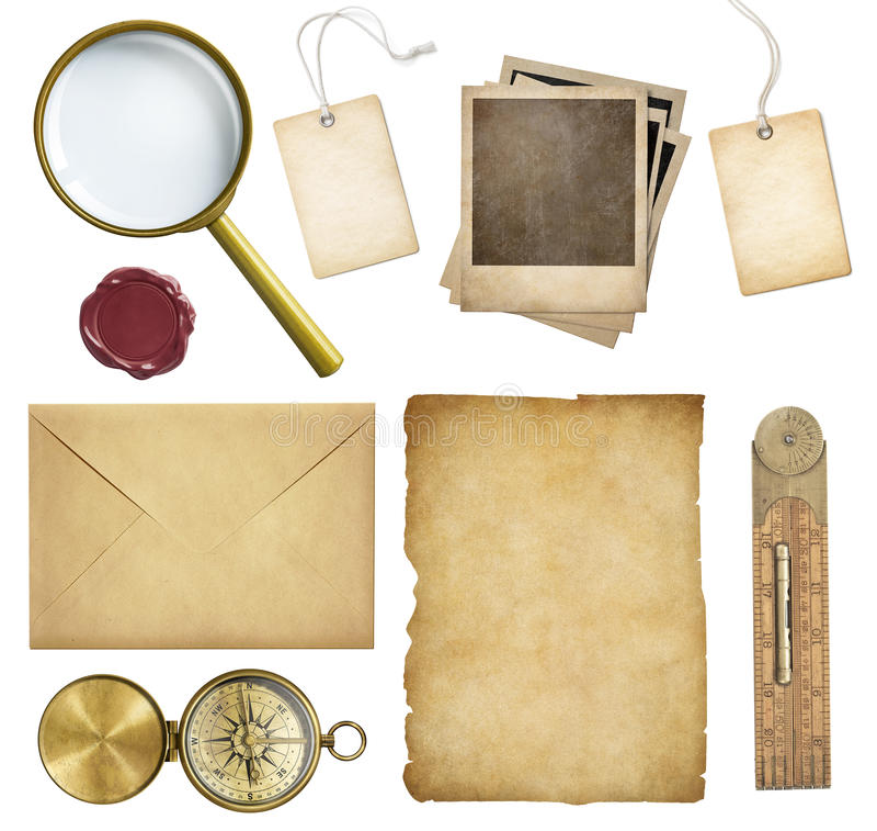 Oude post, document, prijskaartjes, polaroidkaders, was stock fotografie