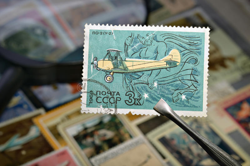 Oude postzegel stock foto's