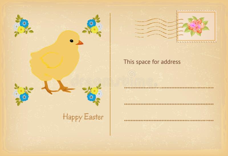 Oude prentbriefkaar in uitstekende stijl Het kuiken van Pasen De gelukkige Pasen-kaart van vieringsgroeten stock illustratie