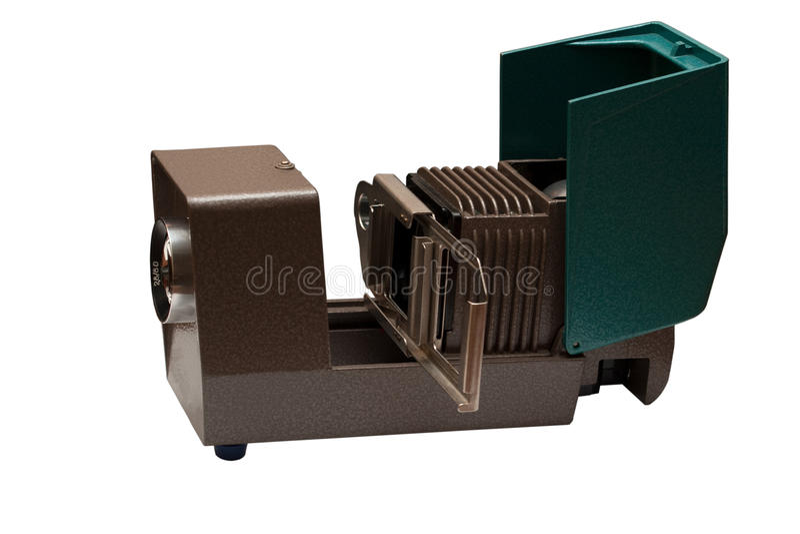 Oude projector op wit stock afbeelding