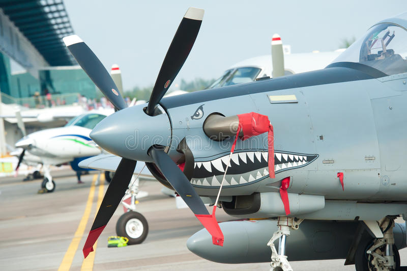 Oude propellerstraal in Singapore Airshow 2014 royalty-vrije stock foto's