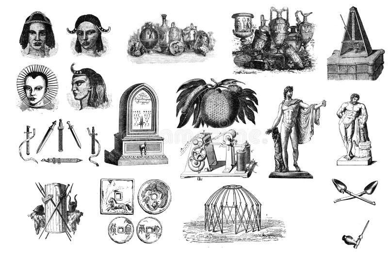 Oude punten De vastgestelde elementen van het Ontwerp royalty-vrije illustratie