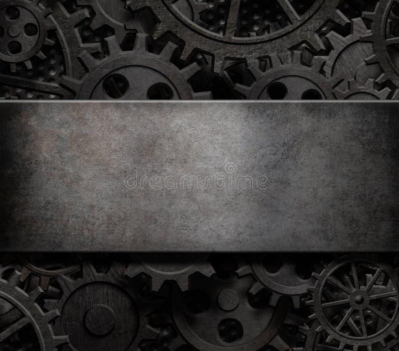 Oude radertjes en toestellen van de stoom punktechnologie 3d illustratie als achtergrond stock illustratie