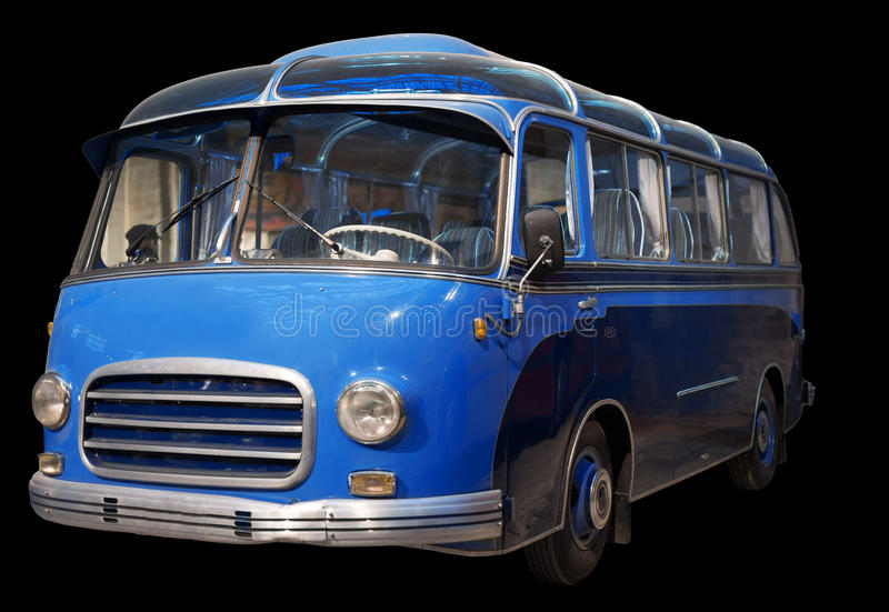 Oude retro blauwe bus stock foto