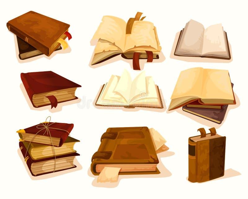 Oude of retro boeken met referentie in stapel of stapel vector illustratie