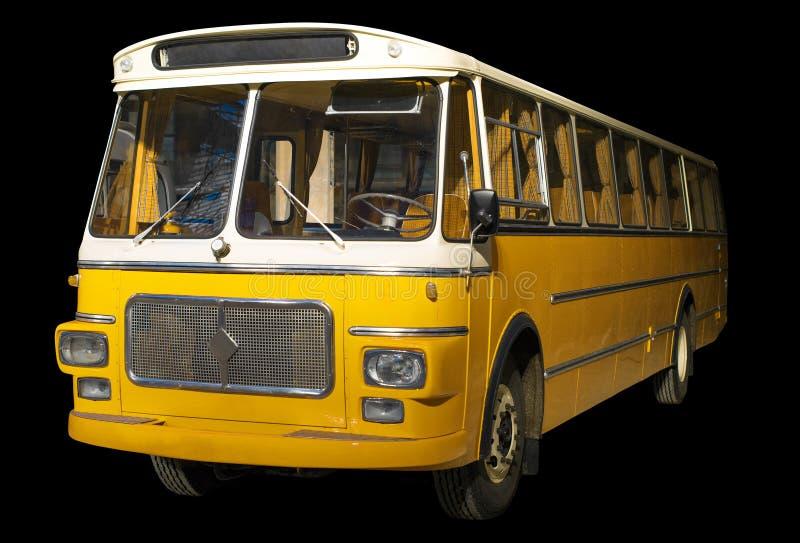 Oude retro gele bus royalty-vrije stock foto